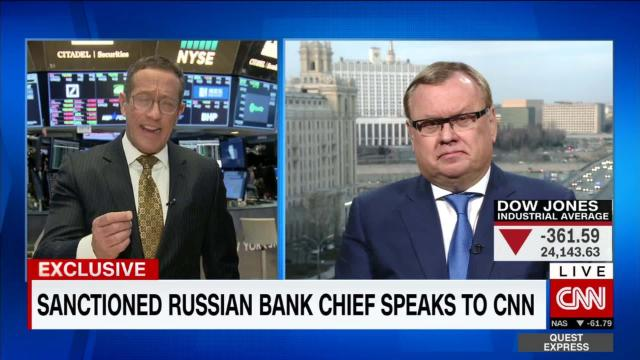 Exclusive: VTB Chairman speaks out after being hit by U.S. sanctions. CNN  Money