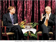 Bill Gates and Best Buy founder Richard Schulze share war stories with students at the University of St. Thomas.