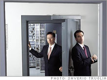 Greg Stangle (left) and Greg Bullard, founders of IG2 Data Security, at their vault in Chicago.